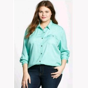 Halogen Nordstrom Tencel Button Up Shirt w/Pocket